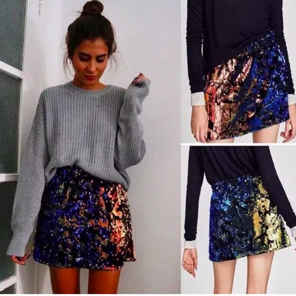 0c9403737ca ZARA MULTICOLORED SEQUIN MINI SKIRT